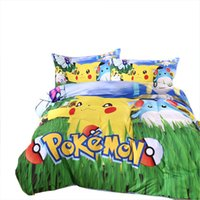 Wholesale In Stock Top Styles Pikachu poke mon Bedding sheet Children pokedall D Bedding Sets Cartoon