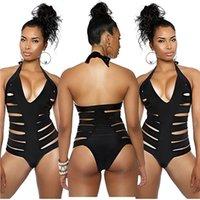 bathing suit lining - 2016 Lined Swimwear Women s One Piece Swimsuit Black Women Sexy Halter Top Crochet Knit Bathing Suit Vintage Bandage Triangle Beachwea A