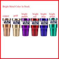 Wholesale Free DHL oz YETI Rambler Tumbler Cup Metallic Blue Green Purple Red Cropper Gold Stainless Steel Tumbler Mug IN STOCK