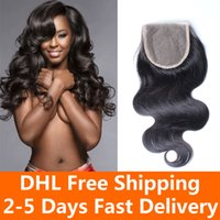 Wholesale 5 Brazilian Body wave Hair Closure A Brazilian Virgin Hair Lace Closure Closure Free Middle Three Part