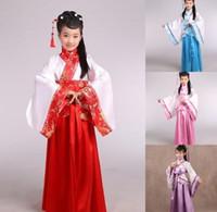 al por mayor muchachas de la ropa ropa de danza del niño-Traje chino antiguo tradicional para el traje hanfu niño niñas ropa mujer cosplay vestidos de danza trajes de la Dinastía Tang
