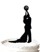 basketball birthday supplies - basketball cake topper Wedding Cake Topper silhouette bride and groom playing Basketball many color for your option