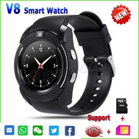 apple web cameras - V8 Smartwatch Clock With SIM TF Card Slot Bluetooth For Apple iPhone Android Phone GSM Watch MP Camera Web Browsing Sleep Tracker