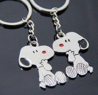 achat en gros de publicité chien-Snoopy chien d'arachide Keychain Porte-clés de bande dessinée Clés Cute Creative Gift Lovers Porte-clés Couple Porte-clés Bagues Snoopy publicité