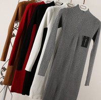 Wholesale Fashion Women Ladies Autumn Winter Long Sleeve Turtleneck Slim Long Sweater knitted Dress Pullover Brand New Good Quality