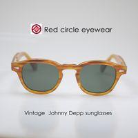 Wholesale Children S Plastic Sunglasses - vintage Johnny depp sunglasses blonde frame with green glass lenses mens eyeglasses women fashion retro glass 1960's style top acetate frame