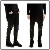Wholesale ripped jeans for men skinny Distressed slim famous brand designer biker hip hop swag tyga white black jeans kanye west