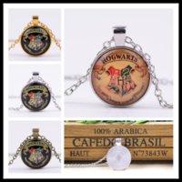american restore - New Harry Potter s magic school badge time diamond necklace Pendant Necklaces alloy glass vintage necklaces restoring retro necklaces B0372