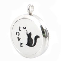 aromatherapy cats - Love Cute Cat Aromatherapy Essential Oil surgical Stainless Steel Perfume Diffuser Locket Necklace with chain and pads