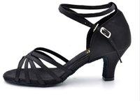 Wholesale Fashion Soft Sexy comfortable Satin salsa Latin Tango Ballroom dance shoes Length US size women dancing shoes High heels shoes free shi