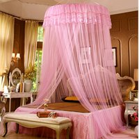 Cheap Hot Cute Beige Pink Girls Hung Dome Mosquito Net for Double Bed Solid Lace Summer Round Canopy Beds Zanzariera Moustiquaire Lit