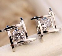 Wholesale silver gold square inlay color crystal water drop lady s earings