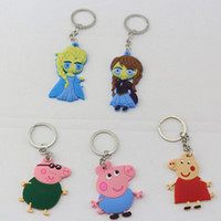 anna jewelry - Styles Mix cartoon Anna and Elsa keyring pinky pigs toys silicone key chains jewelry for kids gift
