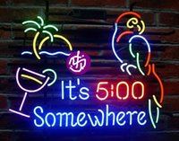 Wholesale Brand New Larger It s O clock Somewhere Parrot Glass Neon Sign Beer light