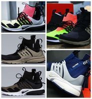 bamboo shoes flats - 2017 New Air Presto MID White Black Hot Lava Medium Olive Mens Running Shoes High Quality Men Sport Trainers Athletic Sneakers Black Bamboo