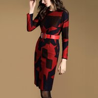 Wholesale Women Clothes autumn temperament in the new round collar long sleeve printed cultivate one s morality dress skirt long career
