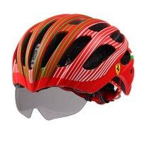 Wholesale New Cycling Helmet Bicycle Helmets Ultralight Unisex Breathable Mountain Road Bike MTB Helmet with Goggles Glasses Adjustable Ferrari FAH55