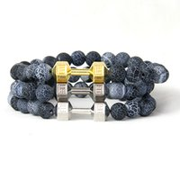 agate granite - New Design Powerful Jewelry for Men with mm Weathered Granite Stone Beads amp Multicolor Gym Fitness Dumbbell Bracelets For Sport