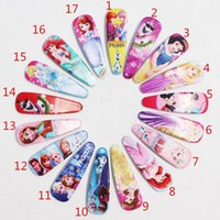 Wholesale Frozen girls hairpins children cartoon hair accessories princess elsa anna Cinderella Mermaid snow white Hairpin Clip Hair Clip