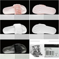 bagged concrete - Drop Shipping With dust bags Box Rihanna Leadcat Fur Slides Pink Black White Limited Sandal Women ladies Sandals Size