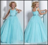Wholesale Girls Pageant Dresses Simple Style Light Blue Tulle Sweetheart Neck Zipper Back Beadings Floor Length Sasahes Formal Gowns Cheap