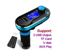 Wholesale AUX T66 Dual USB Wireless Car Charger Bluetooth Kit Handsfree MP3 Player FM Transmitter Support SD Line in