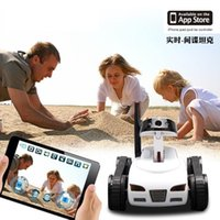 Wholesale 2017 RC Mini Tank Car Spy with Video MP Camera WiFi Remote Control By iphone Android Robot with Camera CH White S
