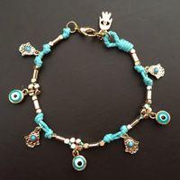 bar turkeys - New Brand Designer Gold Plated Lucky Handmade Bracelet Hamsa Fatima Hand Blue Turkey Big Eye Charm Bracelet for Party Jewelry