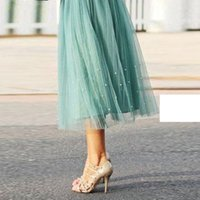 aline dresses - 2016 Sweet Pearl Mint Tulle Skirts For Women Tea Length Aline Satin Waist Bow Beach Summer Women Dresses Short Girls Skirts Midi Dresses