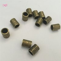 Wholesale Metal Type Big Hole Dreadlock Bead Ring For Braiding Hair Extension Bronze pattern Hair Bead for Dreadlocks