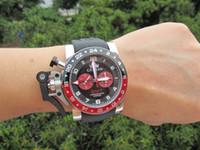 al por mayor relojes de gran tamaño-50mm GMT BRITÁNICO MAESTRO LONDRES Chronofighter bisel Compitiendo con el reloj de la parada del deporte de la raza de gran tamaño Los hombres de cuarzo miran los relojes de los hombres del reloj de goma.
