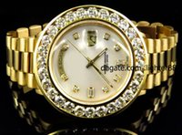 Cheap LUXURY! AAA BRAND NEW Automatic 36 MM 18k Yellow Gold Mens Large Diamond Solid Pres1dent Diamond Watch Mens Watch Men's Watches