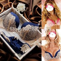 Cheap Details about Womens Lace Super Boost Magic Enhancer Push up Bra Sets Gel Padded Side Support