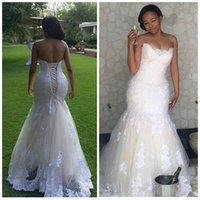 africa wedding dress - Elegant Africa Lace Mermaid Wedding Dresses Plus Size Corset Back Sweetheart Bridal Gowns Vestidos De Novia