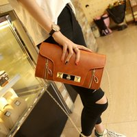 Wholesale 2016 New Fashion Wild Chain Handbags Small Flap Bag Clutch Bags Double Zipper Lock Shoulder Messenger Bags