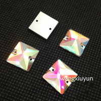 Wholesale 8mm mm mm mm mm mm Crystal AB Color Square Sew on Crystal Fancy Rhinestone with Holes