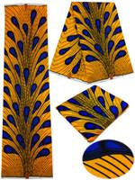 Африканские отпечатки Отзывы-2016 Новая модная печать восковой ткани Африканский дизайн 100% хлопчатобумажная ткань Super Super Wax для платья женщины быстрая доставка 6Yards / Lot FH1505