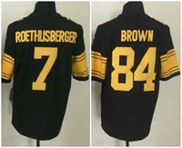 Wholesale Mens Antonio Brown Ben Roethlisberger Back Pittsburgh RUSH Football Jerseys