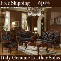 antique leather furniture - set Authentic italian genuine leather living room sofas with solid rubber wood carve luxury villa furniture