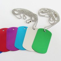 aluminum dog tags with chain - 1000sets Blank Aluminum Army Dog Tags with cm Bead Chains Fashion Men Boy Pendants Dog Tags
