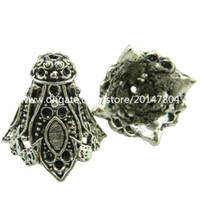 Wholesale 19048 Vintage Silver Hollow Filigree Flower Tassel End Cap Retro Jewelry