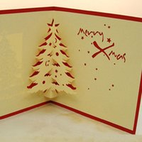 Wholesale Hot sale New Fashion D Handmade Christmas Greeting Cards Christmas cedar Card Gift Party Cards Festive Party Supplies