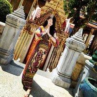 beaches thailand - Elegant Thailand National Style Flora Print Beach Casual Dresses Plus Size V Neck Bohemian Dresses Long Traveling Wild Party Dress YM