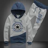 Wholesale Hooded fleece suit New fund autumn outfit five pointed star big size sport suit men s clothing