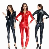 Wholesale 2016 New Arrival Women Solid Faux Leather Nightclub Pole Dancing Costumes Trendy Sexy Zentai Catsuit Black Red M XL
