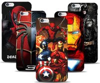 al por mayor hombre de hierro vengadores-Marvel Avengers Capitán American Shield Hombre de hierro Hard Case para iPhone 7 7 pLUS 5 5s SE 6 6S Plus 5C Spiderman Deadpool Pintado patrón