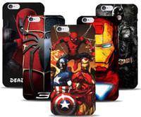 achat en gros de iron man avengers-Marvel Avengers Capitaine American Shield Iron man Étui rigide pour iPhone 7 7 pLUS 5 5s SE 6 6S Plus 5C Spiderman Deadpool Pattern peint