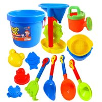 beach spades - 13 Set Children Beach Sand Toy Baby Kids Boys Girls Octopus Bucket Spade Rake Pot Sand Water Seaside Beach Tools toy