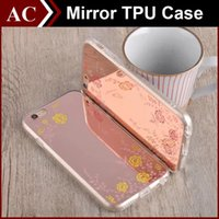 acrylic garden mirror - New Luxury Mirror Electroplate Secret Garden Frame Case For iPhone SE S Plus Acrylic Soft TPU Flower Cover Shell free DHL