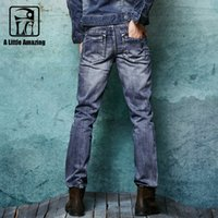 ala blue - Brand Mens Jeans Straight Cotton Jeans For Men High End Denim ALA MASTER Jeans Men Fashion Designer Pants size